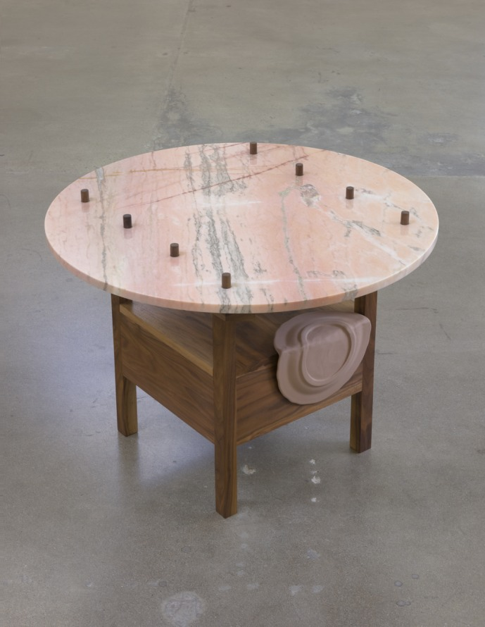 "As Many Versions as Witnesses, no. 2, 2015, Wood (walnut), marble, Table position: 26"" tall x 36"" wide x 36"" deep, Photo cred: Robert Wedemeyer"