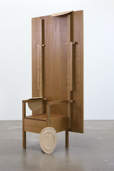 "As Many Versions as Witnesses, no. 4, 2015, Wood (cherry), Table position: 29.75"" tall x 72"" wide x 38"" deep, chair position: 81.50"" tall x 72"" wide x 38"" deep, Photo cred: Robert Wedemeyer"