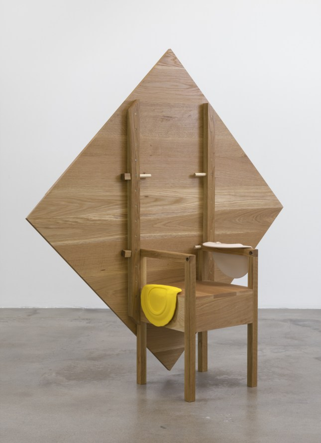 "As Many Versions as Witnesses, no. 5, 2015, Wood (maple), Table position: 28.75"" tall x 56"" wide x 56"" deep, chair position: 69"" tall x 56"" wide x 56"" deep, Photo cred: Robert Wedemeyer"