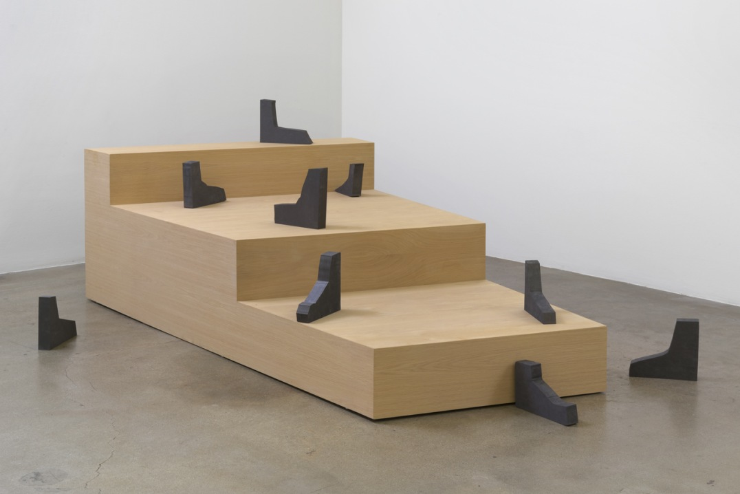 "The Average Mysterious Interrupted, 2015, Wood, MDF, graphite, Stairs:  30"" H x 58.25"" W x 94.25"" D, Boots approximately 12""H x 10""L x 2""D (9 boots), Photo cred: Robert Wedemeyer"