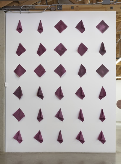 "Paul, Paul, Paul, and Paul, 2015, Hand-dyed paper (30 pieces), Overall dimensions variable, each napkin 11.50""D x 11.50""W, Photo cred: Robert Wedemeyer"