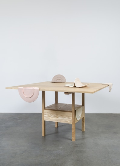 "As Many Versions as Witnesses, no. 1, 2015, Ceramic, wood, Table position: 29"" tall x 51"" wide x 51"" deep, chair position: 64"" tall x 51"" wide x 21"" deep, Photo cred: Jeff McLane"