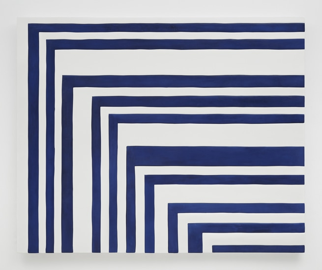 "Blue and White Zig Zag, 2014, Medite, aqua resin, casein and acrylic, 49"" H x 58.50"" W (124.46 cm H x 148.59 cm W), Photo credit: Chris Austin"
