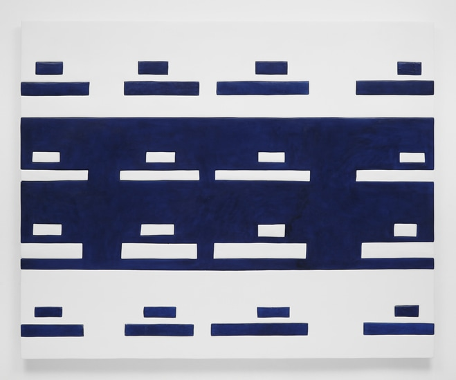 "Tanks, 2014, Medite, aqua resin, casein, and acrylic, 56"" H x 69.50"" W (142.24 cm H x 176.53 cm W), Photo credit: Chris Austin"