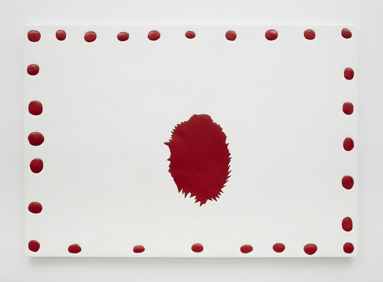 "Blood Dots, 2014, Medite, aqua resin, casein and acrylic, 49"" H x 71"" W (124.46 cm H x 180.34 cm W), Photo credit: Chris Austin"