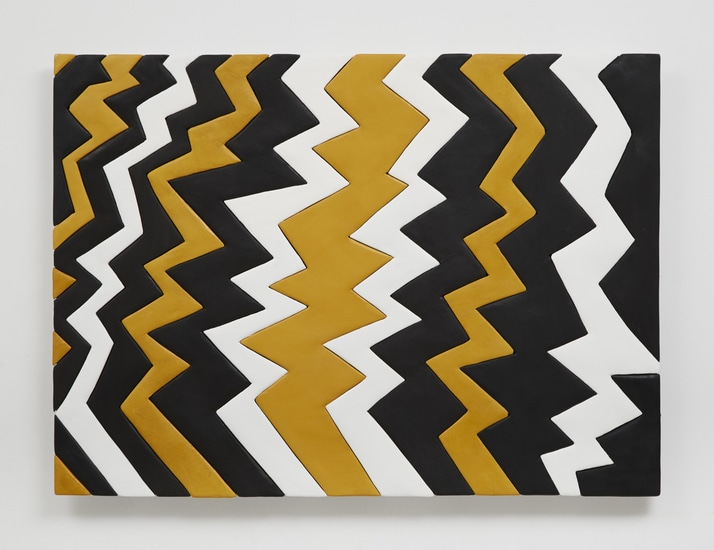 "Zig Zag Yellow, 2014, Medite, aqua resin, casein, and acrylic, 26"" H x 34.75"" W (66.04 cm H x 88.27 cm W), Photo credit: Chris Austin"