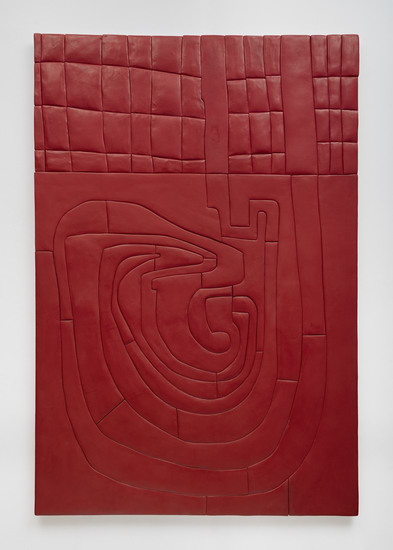 "Red Maze Monochrome, 2014, Medite, aqua resin and casein, 75"" H x 51"" W (190.5 cm H x 129.54 cm W), Photo credit: Robert Wedemeyer"