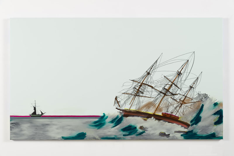 "The Rainmaker, 2014, Ink and oil on canvas on panel, 48"" H x 84"" W (121.92 cm H x 213.36 cm W), Photo credit: Evan Bedford"