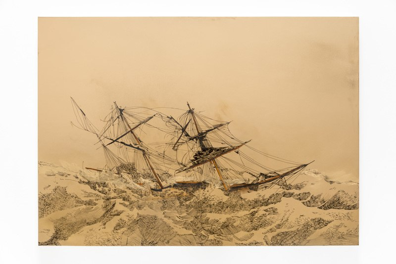 "Echec D'Or, 2014, Ink and oil on panel, 30"" H x 42"" W (76.2 cm H x 106.68 cm W), Photo credit: Evan Bedford"