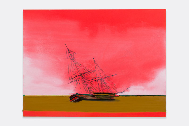 "Ghost Ship sees its Shadow, 2014, Ink and oil on panel, 18"" H x 24"" W (45.72 cm H x 60.96 cm W), Photo credit: Evan Bedford"