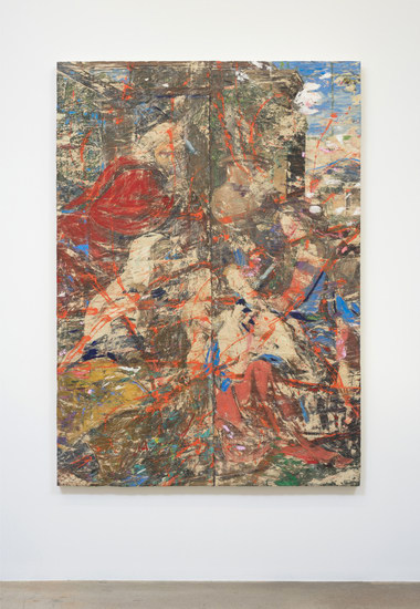 "Anachronic, 2014, Oil paint and oil paint skins collaged on canvas, 84.50"" H x 60.50"" W x 2.50"" D (214.63 cm H x 153.67 cm W x 6.35 cm D), Photo credit: Robert Wedemeyer"