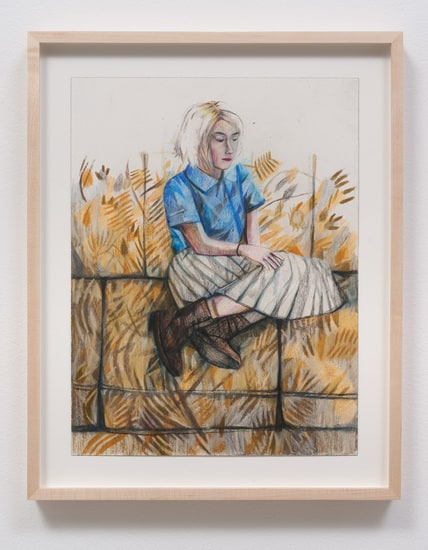 "Dasha 'Blue Shirt', 2014, Colored pencil on paper, 20"" H x 15.75"" W x 1.50"" D (50.8 cm H x 40.01 cm W x 3.81 cm D) framed, SVLAP solo exhibition, May 31 - July 5, 2014; Photo credit: Robert Wedemeyer"