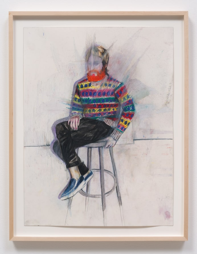 "Jim, 2014, Colored pencil and pastel on paper, 27.50"" H x 21.50"" W x 1.50"" D (69.85 cm H x 54.61 cm W x 3.81 cm D) framed, SVLAP solo exhibition, May 31 - July 5, 2014; Photo credit: Robert Wedemeyer"