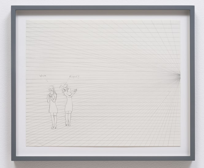 Girls on grid checking phones, 2013, Pencil on paper, 17, Photo credit: Robert Wedemeyer