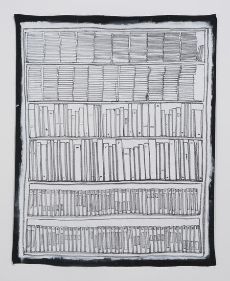 Bookshelf II, 2014, Oil pastel and gesso on canvas, 74.0, SVLAP Solo exhibition, April 12 - May 24, 2014; Photo credit: Robert Wedemeyer