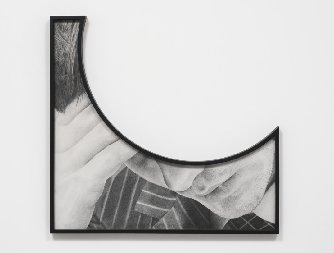 Theme Time - Tears (Head on hand), 2014, Pencil on paper with shaped frame, 43.75, Courtesy of Susanne Vielmetter Los Angeles Projects; Photo credit: Robert Wedemeyer