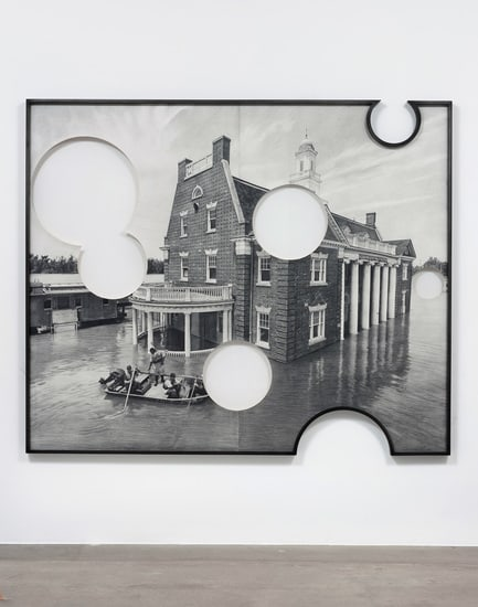 Theme Time - Water (Vicksburg Flood), 2013, Pencil on cut paper with shaped frame, 75, Courtesy of Susanne Vielmetter Los Angeles Projects, Photo credit: Robert Wedemeyer