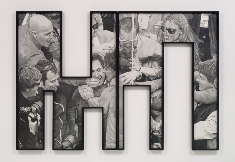 Sports Hero, 2012, pencil on paper, Two pieces, 63.5, 12th Biennale de Lyon, September 12, 2013 - January 14, 2014, Courtesy of Susanne Vielmetter Los Angeles Projects, Photo credit: Robert Wedemeyer