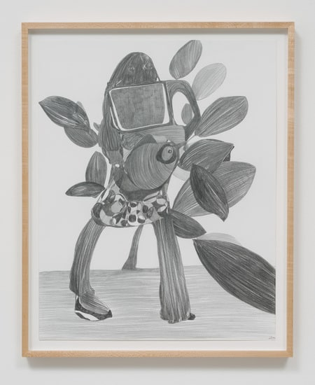 "Graphite Drawing #12, 2014, Graphite on paper, 26.75"" H x 21.50"" W x 1.50"" D (67.95 cm H x 54.61 cm W x 3.81 cm D) framed, SVLAP solo exhibition, ""Trouble in Happiness,"" March 1 - April 12, 2014; Photo credit: Robert Wedemeyer"