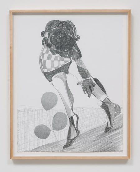 "Graphite Drawing #11, 2014, Graphite on paper, 26.75"" H x 21.50"" W x 1.50"" D (67.95 cm H x 54.61 cm W x 3.81 cm D) framed, SVLAP solo exhibition, ""Trouble in Happiness,"" March 1 - April 12, 2014; Photo credit: Robert Wedemeyer"