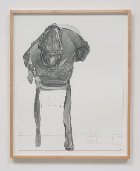 "Graphite Drawing #9, 2014, Graphite on paper, 26.75"" H x 21.50"" W x 1.50"" D (67.95 cm H x 54.61 cm W x 3.81 cm D) framed, SVLAP solo exhibition, ""Trouble in Happiness,"" March 1 - April 12, 2014; Photo credit: Robert Wedemeyer"