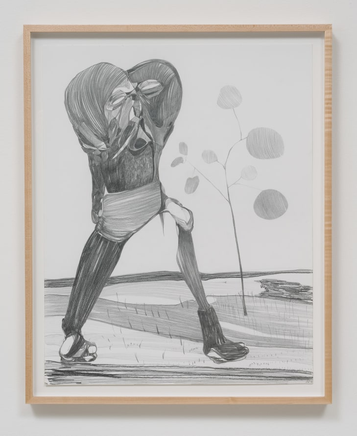 "Graphite Drawing #7, 2014, Graphite on paper, 26.75"" H x 21.50"" W x 1.50"" D (67.95 cm H x 54.61 cm W x 3.81 cm D) framed, SVLAP solo exhibition, ""Trouble in Happiness,"" March 1 - April 12, 2014; Photo credit: Robert Wedemeyer"