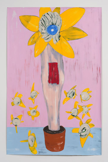 "Nicola Tyson, ""Flowerpot"", 2013, Acrylic on unstretched linen, 85"" H x 54.50"" W (215.9 cm H x 138.43 cm W), SVLAP Solo exhibition, ""Trouble in Happiness,"" March 1 - April 12, 2014; Photo credit: Robert Wedemeyer"