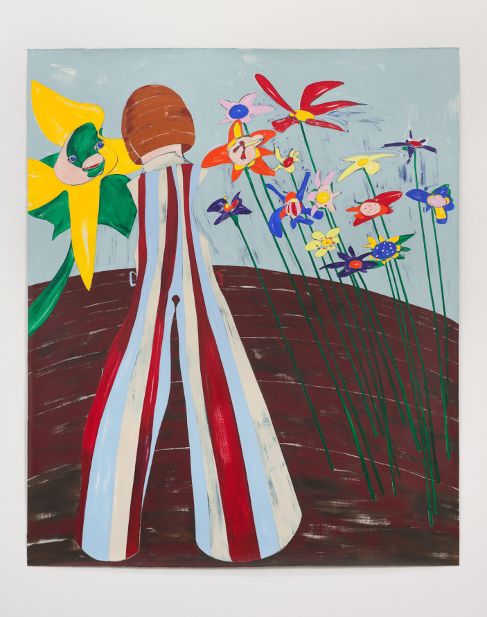"Nicola Tyson, ""In the Garden"", 2014, Acrylic on unstretched linen, 85"" H x 72"" W (215.9 cm H x 182.88 cm W), SVLAP Solo exhibition, ""Trouble in Happiness,"" March 1 - April 12, 2014; Photo credit: Robert Wedemeyer"