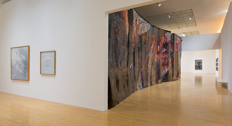 "Representation of a Landscape as a Wall, 2012, Acrylic, latex, and ink on paper, 168 x 583 3/16 in., Installation view, ""Room to Live: Recent Acquisitions and Works from the Collection,"" The Museum of Contemporary Art, Los Angeles; Photo: Brian Forrest"