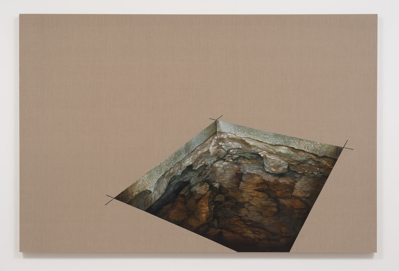 "...and the earth was without form and void, 2013, Acrylic on raw linen, 72"" H x 108"" W x 2"" D (182.88 cm H x 274.32 cm W x 5.08 cm D), ""Dislocated Masses,"" Susanne Vielmetter Los Angeles Projects, November 9 - December 21, 2013; Photo: Robert Wedemeyer"
