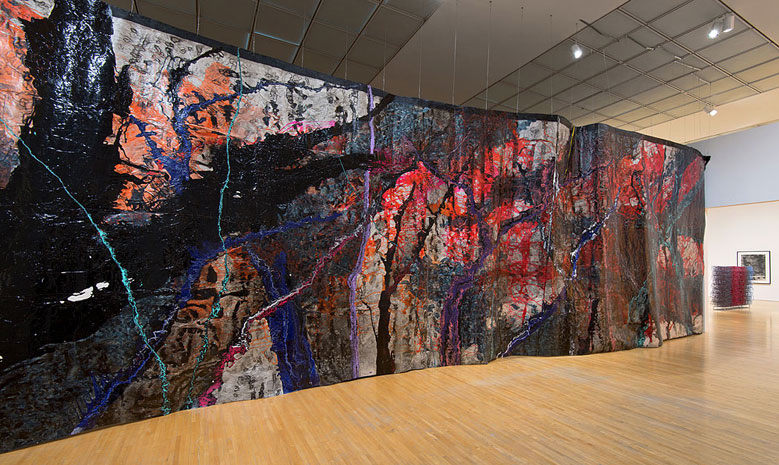 Rodney McMillian, Representation of a Landscape as a Wall, 2012, Acrylic, latex, and ink on paper, 168 x 583 3/16 in., The Museum of Contemporary Art, Los Angeles; Photo: Brian Forrest