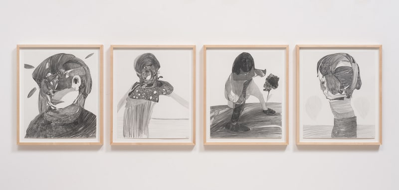 Untitled (M.S.) #1 - #4, 2013, Graphite on paper, Dimensions variable, Image courtesy of Susanne Vielmetter Los Angeles Projects