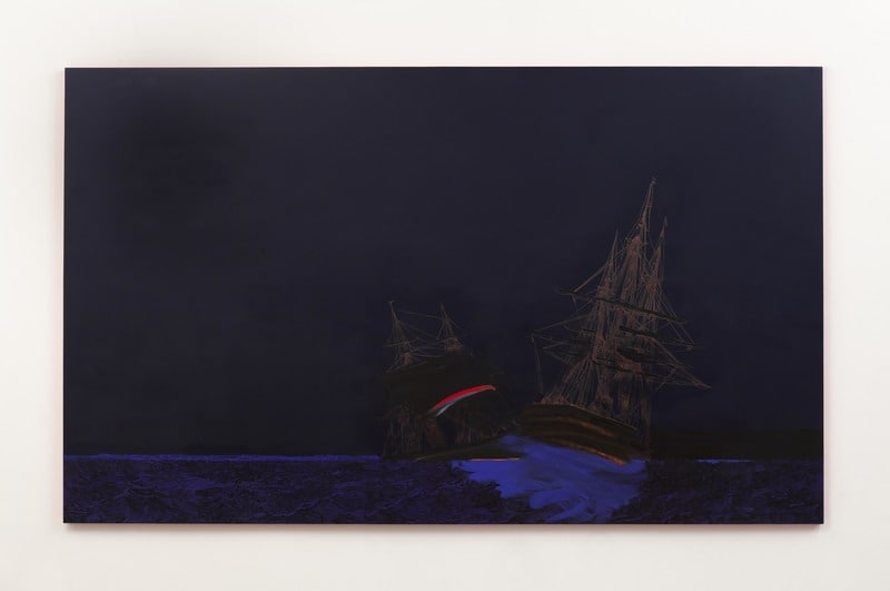 Blue Shipwreck (the longest night), 2013, Ink and oil on canvas on panel, 72, Photo credit: Evan Bedford