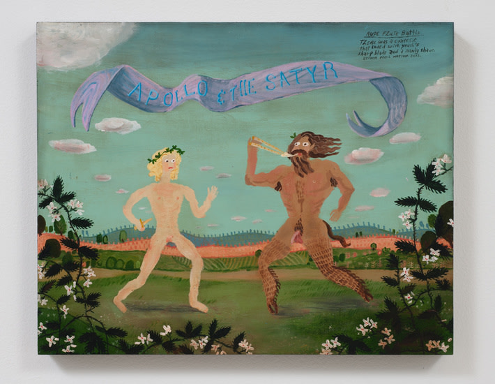 Nude Flute Battle, 2013, Acrylic and glitter on panel, Photo credit: Robert Wedemeyer