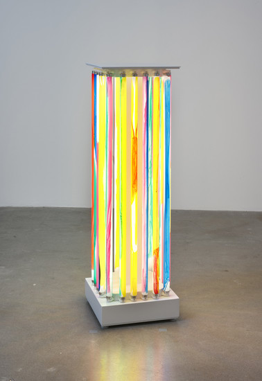 "Luminaire Delirium (Column #2), 2013, T8 fluorescent lights, steel, ballasts, electrical wires and power cord, paint, 40.5"" H x 12.5"" W x 12.5"" D, Photo Credit: Robert Wedemeyer"