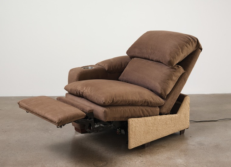 "House as Dictator, 2013, Found recliner, wood, stucco, electric motor, 38"" H x 58"" W x 30"" D (96.52 cm H x 147.32 cm W x 76.2 cm D)"