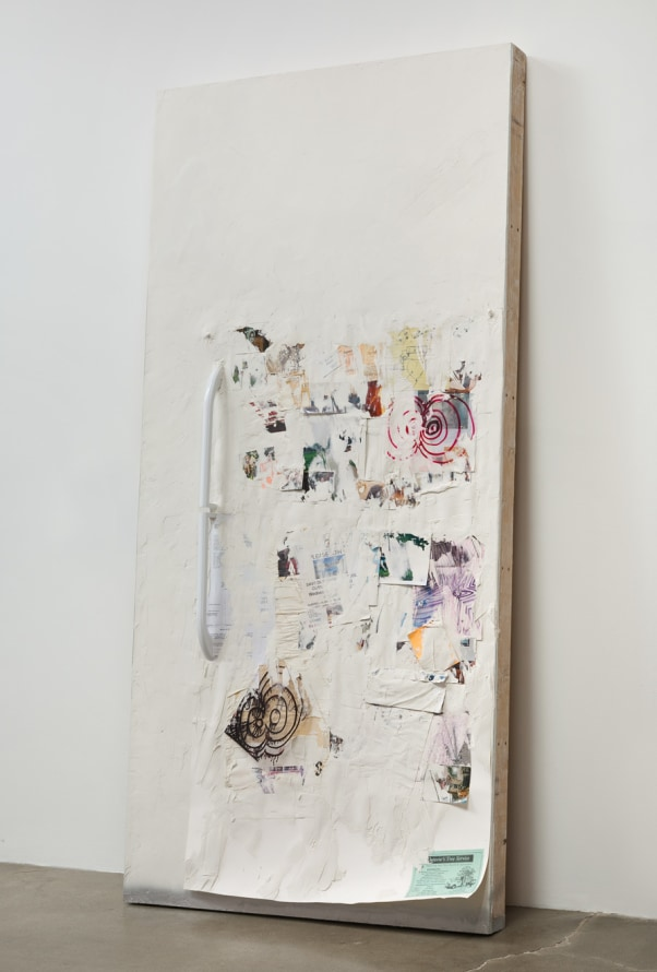 "Olga Koumoundouros ""Ice Box"", 2013 Refrigerator door handles, collage of artist, friends and neighbors ephemera photos, drywall, joint compound 96"" x 48"" x 6"" Gallery Inventory #KOU192 Courtesy of Susanne Vielmetter Los Angeles Projects; Photo credit: Rob"