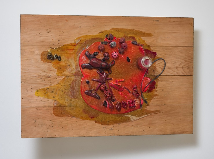 "All Together, 2013, Table and found objects, glitter and colored resin, 37.5"" H x 54.5"" W x 17"" D (95.25 cm H x 138.43 cm W x 43.18 cm D)"