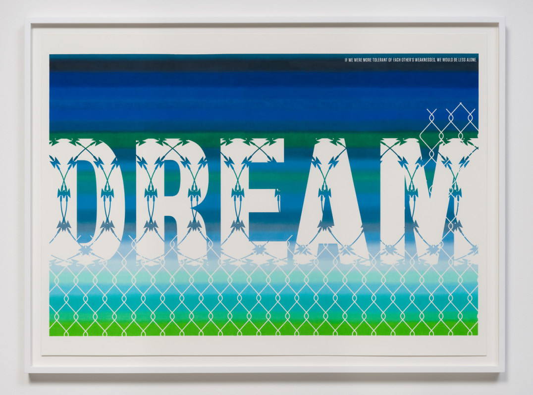 "Pass The Dream Act (Barbed Wire), 2012, Colored pencil on archival board, 26"" x 36"", Photo Credit: Robert Wedemeyer"