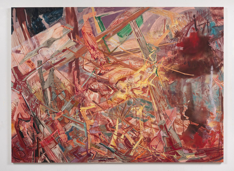 "Land Through Shoulders, 2012, Acrylic, collage and oil stick on canvas, 77"" x 105"""