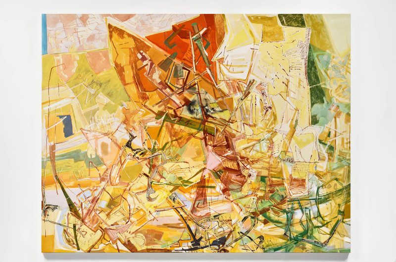 "Land Sun Drenched, 2012, acrylic, collage and oil stick on canvas, 74"" x 96"""
