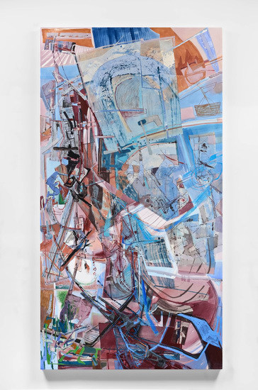 "Orbit Weaver, 2012, acrylic, collage and oil stick on canvas, 96"" x 50"""