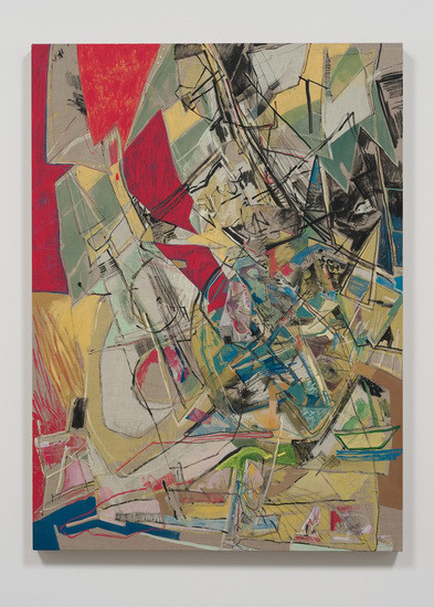 "Westward Tack, 2012, acrylic, collage and oil stick on canvas, 55"" x 40"""