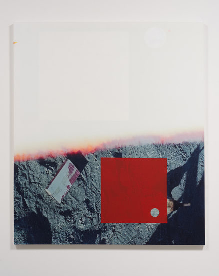 "Salton Sea (half ground), 2012, Acrylic, screen ink, Oil, and UV cured ink on canvas over panel, 77"" x 66"""
