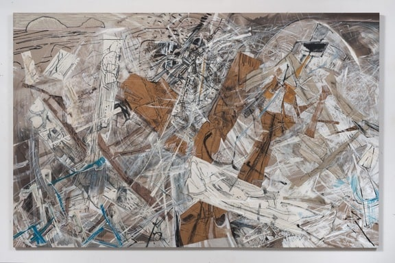 "Land Colliding, 2012, acrylic, collage and oil stick on linen, 77"" x 120"""