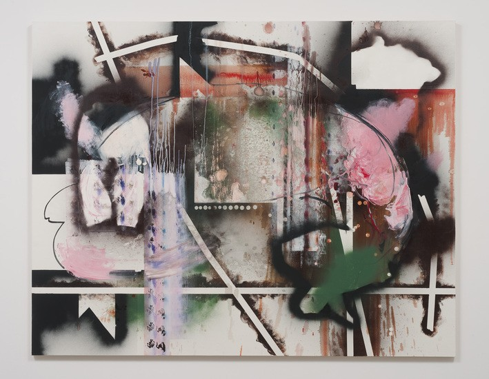 "Interlude and Marriage, 2012, Oil and spray paint on canvas, 76"" H x 96"" W (193.04 cm H x 243.84 cm W)"