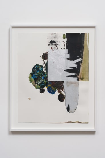 "Ballasting to Near Vertical, 2012, Acrylic (and paper collage) on paper, 24"" x 19"""
