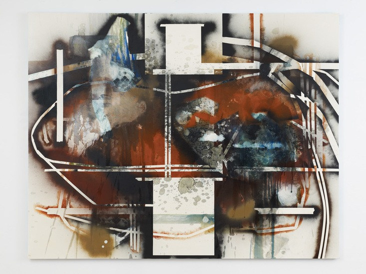 "Routes and Pressures, 2012, Oil and spray paint on canvas, 76"" H x 96"" W (193.04 cm H x 243.84 cm W)"
