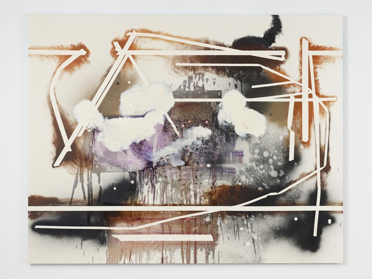 "Step to Earth, 2012, Oil and spray paint on canvas, 76"" H x 96"" W (193.04 cm H x 243.84 cm W)"