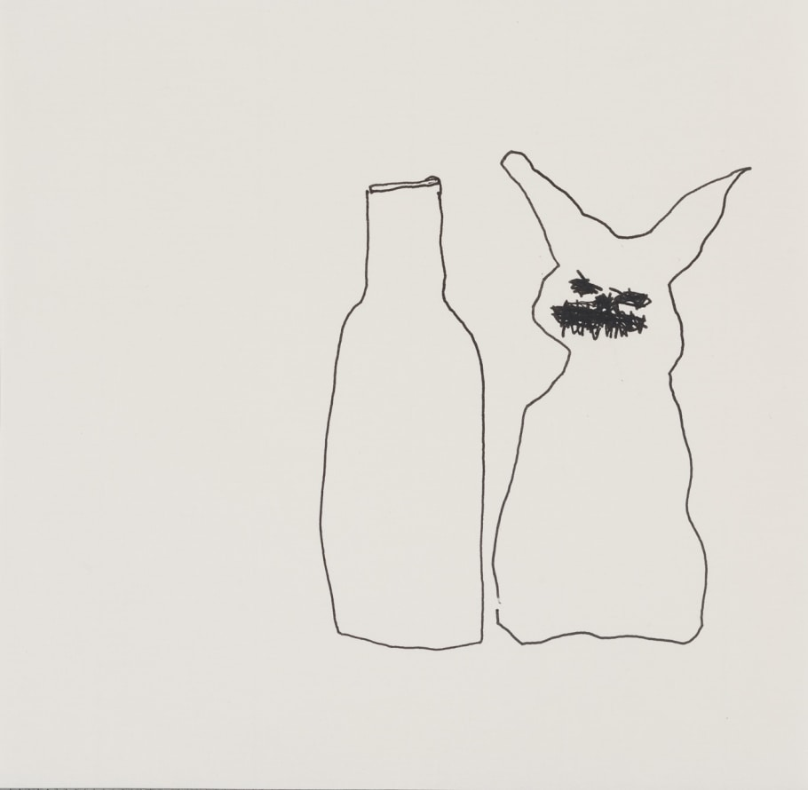 With bottle, 2012, Ink on paper, 11 3/4